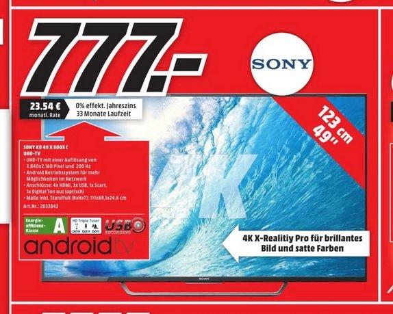 [lokal] Sony KD 49 X 8005 für 777€ @ MM Berlin (Amazon 890€; idealo 999€)