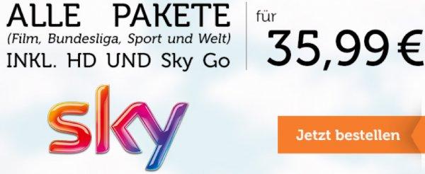Sky alle Pakete inkl. HD und Go - 35,99€ monatlich (2 Jahre)