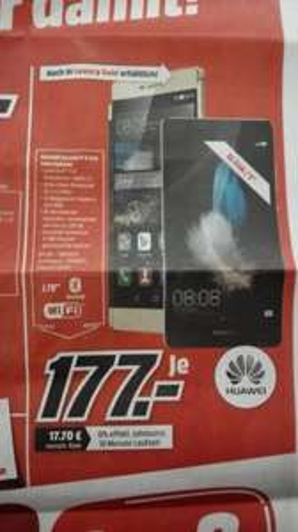 """[MediaMarkt Friedrichshafen] Huawei P8 Lite / 1,2GHz Octacore / 2GB RAM / 5"""" HD / DualSim / für 177€"""
