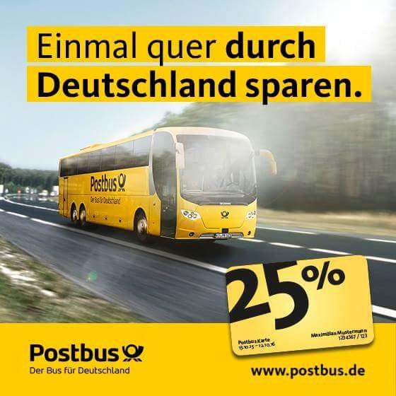 1 Jahr 25% Rabatt im Postbus!