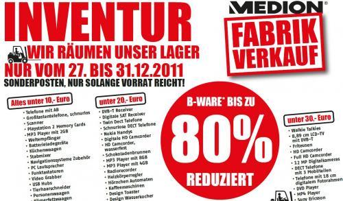(Lokal in Essen) Medion Fabrikverkauf B-Ware bis zu 80% reduziert Aktion