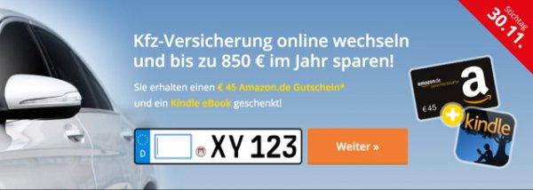 KFZ-Versicherung wechseln und 45€ Amazongutschein erhalten