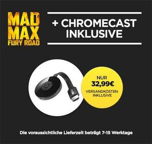 [Wuaki.tv] Google Chromecast 2 + Mad Max Fury Road (Digital Download)  jetzt für 32,99€ Versandkostenfrei