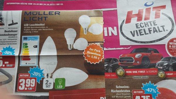 [HIT] LED Leuchtmittel MÜLLLER LICHT 2er Set ab 3,99 (Kerzenform, 3W, E14), andere Modelle für 5,99