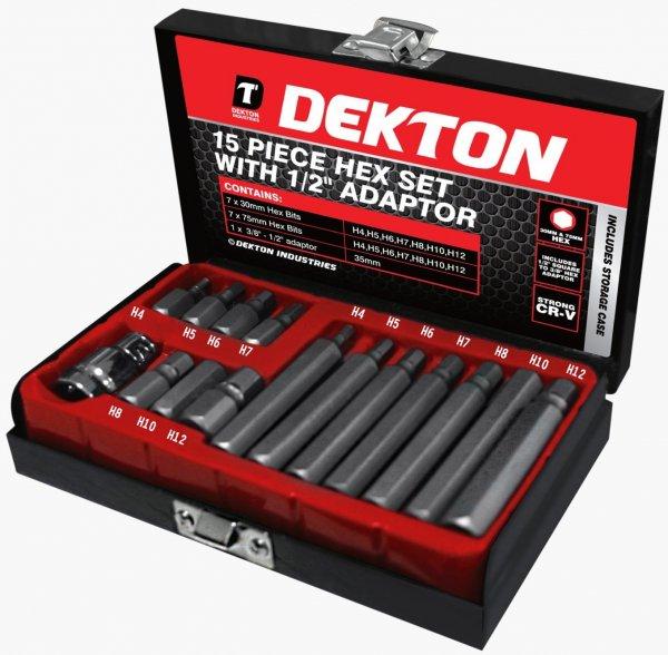 [Amazon.de-Plusprodukt] Dekton 15 Stück Sechskant-Set Mit 1/2 Zoll Adapter