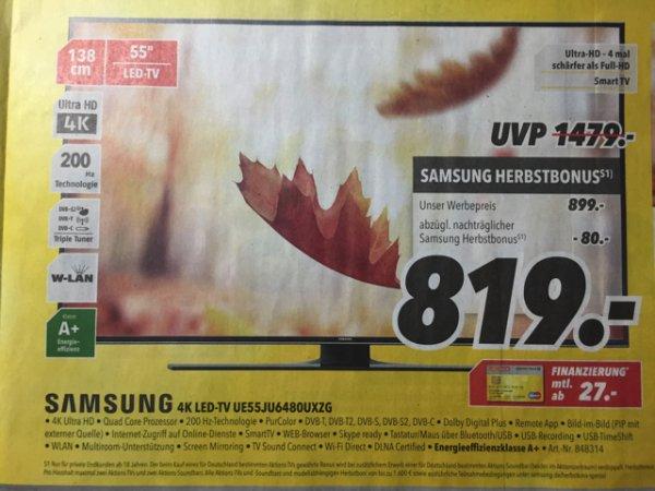 Samsung 4K LED-TV UE55JU6480UXZG für effektiv 819€ @ MEDIMAX lokal 19.10. - 24.10.2015