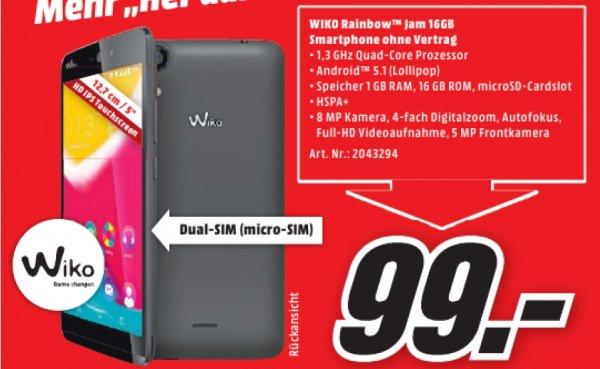 [Lokal Mediamarkt Bayreuth] Wiko Rainbow Jam 16GB schwarz [Dual-Sim, 5Zoll HD-IPS-Display, 1.3GHz QuadCore-CPU, 8MP Kamera] für 99,-€