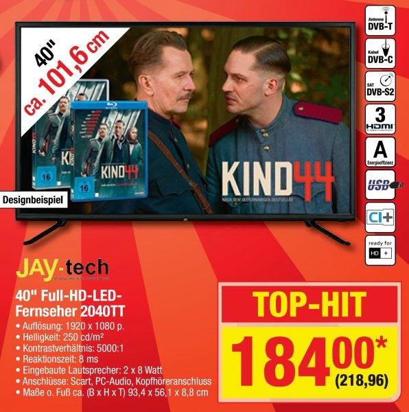 "[Metro] Jay-tech 40"" Full HD LED TV für 218,96"