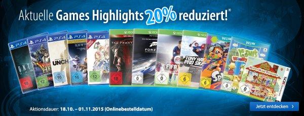 [Mueller Online] 20% auf alle Games! Viele XBox und PS4 Spiele unter Idealo!