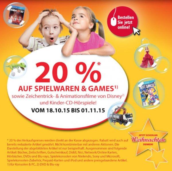 Müller - 20% auf Spielwaren & Games - 18.10.2015 - 01.11.2015