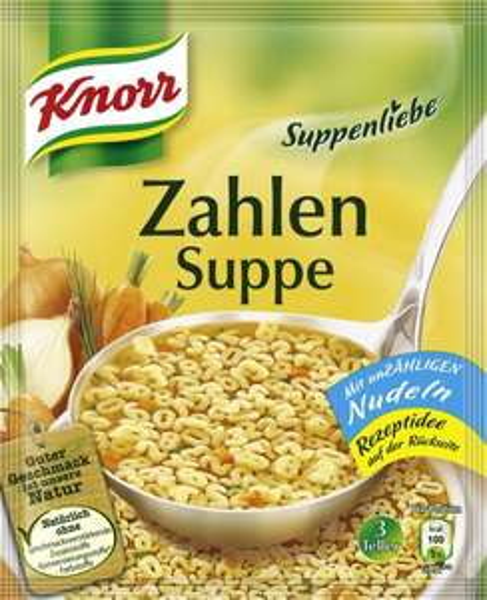 [Amazon]  Knorr Suppenliebe Zahlen Suppe, 13 x 3 Teller für 3,71€ / Knorr Suppenliebe Buchstaben Suppe, 14 x 3 Teller für 4,29€ / Knorr Suppenliebe Kaiser Teller, 15 x 3 Teller für 4,29€