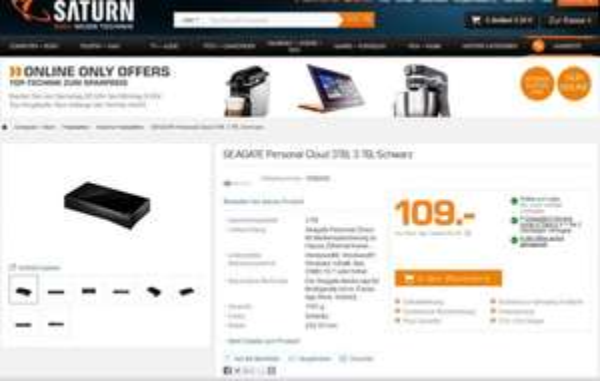 [Saturn] Seagate Personal Cloud - 3 TB 1-Bay NAS (109€ bei Abholung oder +4,99€ Versand)
