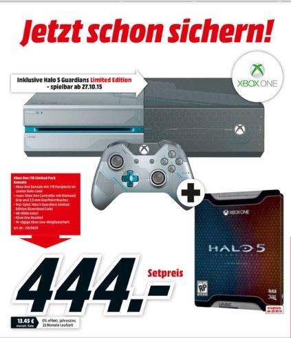 [Lokal Mediamärkte Berlin und Umgebung] Microsoft Xbox One 1TB + Halo 5: Guardians - Limited Edition (DL) für 444,-€