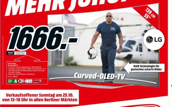 [Lokal Mediamärkte Berlin und Umgebung] LG 55EC930V 139 cm (55 Zoll) Curved 3D OLED TV, Full HD, Triple Tuner, MHL, Miracast, WLAN, Smart TV  für 1666,-€