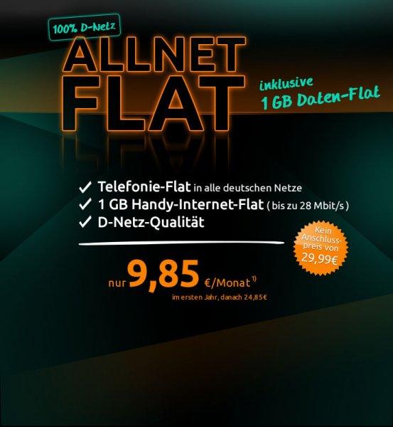 D1 Allnet Flat 1GB 9,85€/Mon.