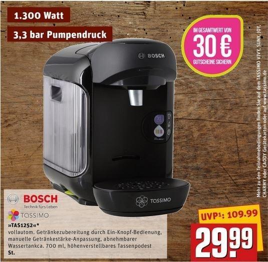 [REWE] Bosch Tassimo Vivy TAS1252 Real Black +30€ Gutschein für 29,99€