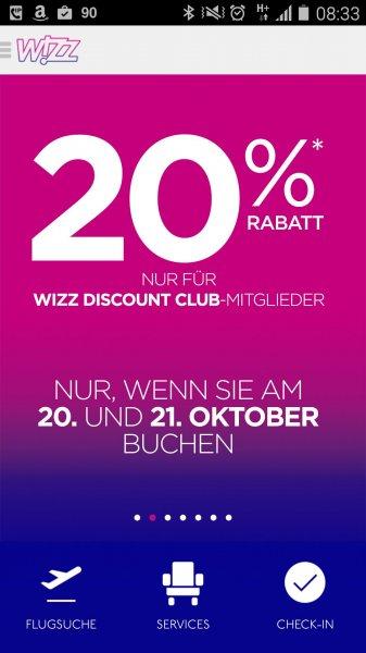 Wizz Air 20% auf alle Flüge für Wizz Air Discount Club Mitglieder
