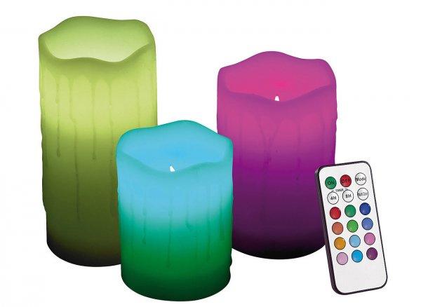 [ebay] [Perl] Lunartec Echtwachskerzen mit Farbwechsel-LED & Fernbedienung, 3er-Set