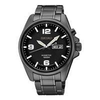 Seiko Herren-Armbanduhr XL Kinetic Analog Automatik Edelstahl beschichtet SMY139P1