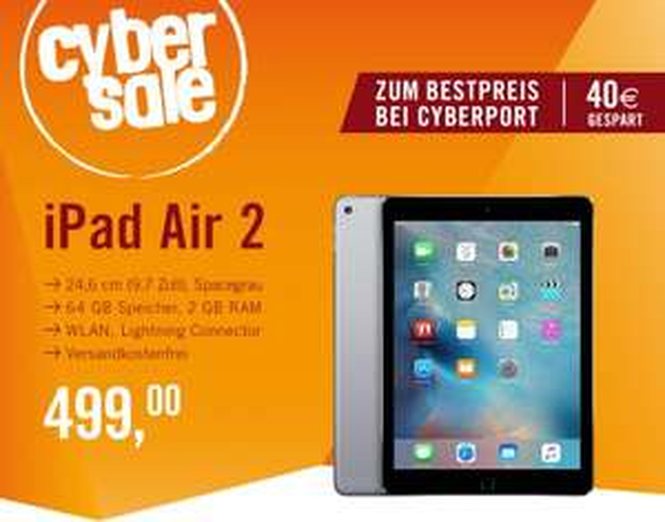 iPad Air 2 64 GB WiFi spacegrau für 499,00 € inkl. Versand