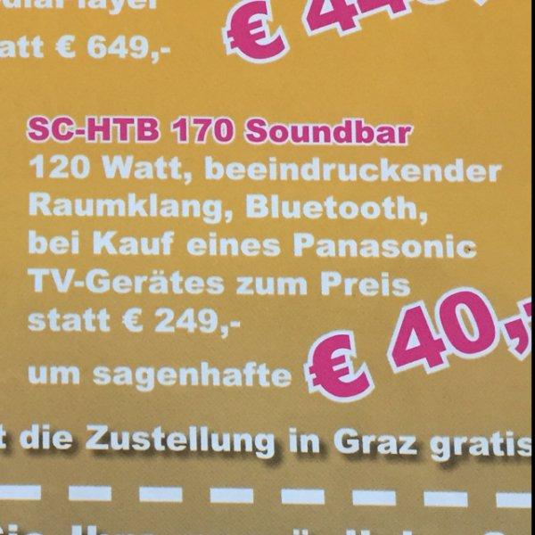 (Österreich Lokal) Panasonic SC-HTB 170 Soundbar um nur 40€