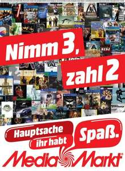 Media Markt national 3 für 2 Aktion frei kombinierbar aus den Bereichen Film, Musik und Games