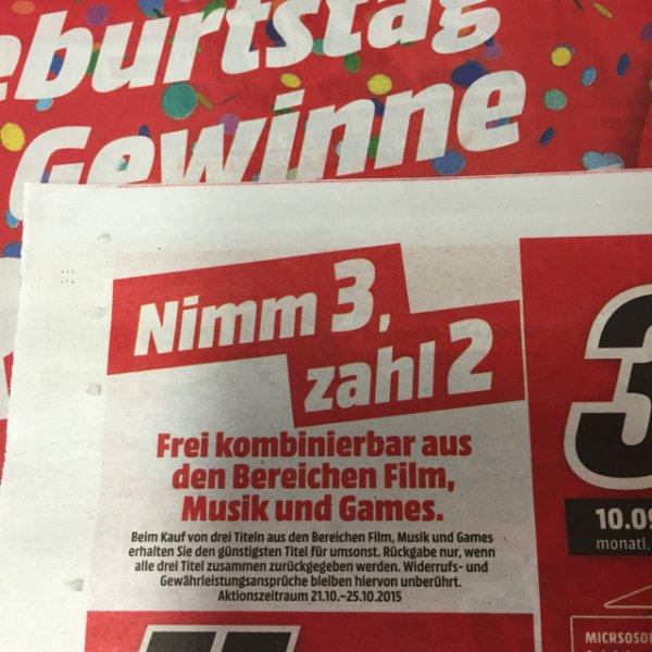 Nimm 3, zahl 2 Media Markt Herzogenrath (offline)