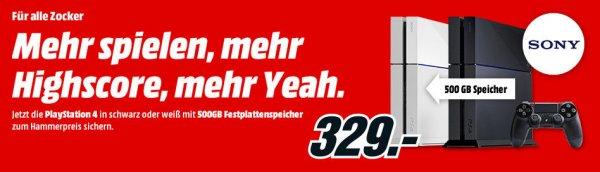 Playsation 4 Schwarz/weiß Aktion für 329 € bei Mediamarkt und Saturn