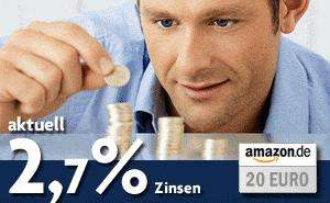 Tagesgeldkonto der Bank of Scotland + 30 € Guthaben + 20 € Amazon-Gutschein + 2,7 % Zinsen
