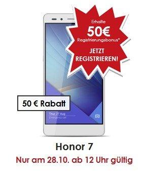 vMall - Honor Angebote für Registrierung im Shop z. B. -50€ für Honor 7 NUR am 28.10 ab 12Uhr