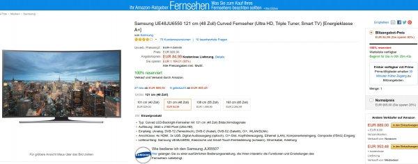 Preisfehler 84,99 EUR | Amazon -  Samsung UE48JU6550 121 cm (48 Zoll) Curved Fernseher