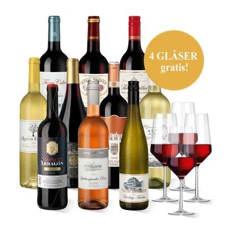 """30 % Rabatt auf 6 Rot- 3 Weiß und 1 Rosé Flasche Wein UND kostenlos Zwiesel Rotweingläser 'Pure"""", 4er Set"""
