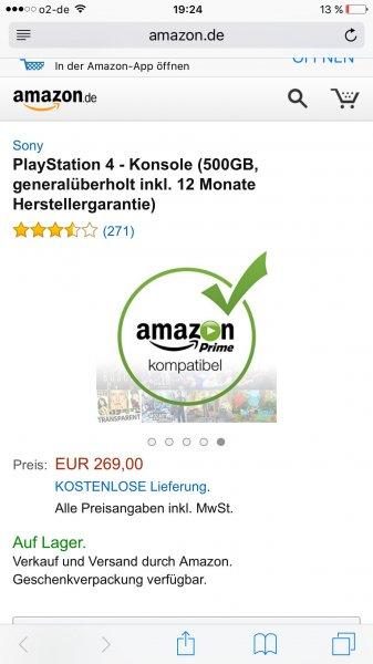 [Amazon] PlayStation 4 500GB generalüberholt
