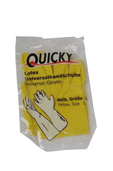 [Amazon.de-Prime] QUICKY Universalhandschuhe aus Latex, Größe S oder L, gelb, innen leicht Baumwollbeflockt, 144er Pack (144 x 1 Stück)