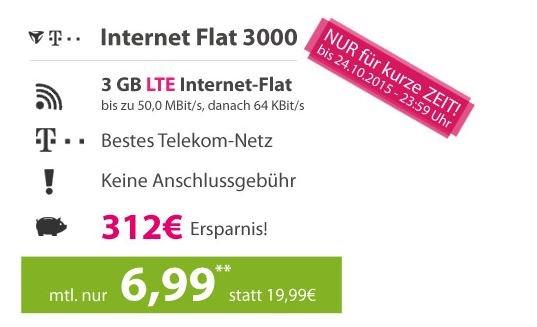 TMobile/MobilCom Internet Mobile Flat 3000 für 6,99
