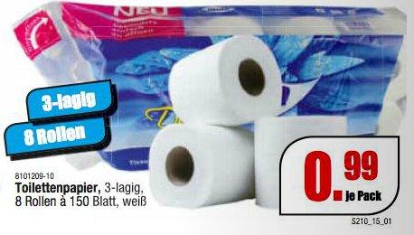 [ROSEN/LINDENHEIM] Schleudermaxx: 8x150 Blatt 3-lagiges Toilettenpapier für nur 0,99€