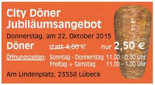 [Lübeck] City Döner, Döner für 2,50€