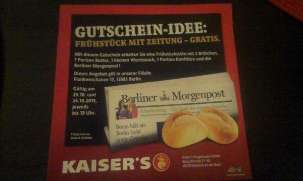 [Lokal Berlin-Spandau] Gratis Frühstück bei Kaiser's mit Coupon