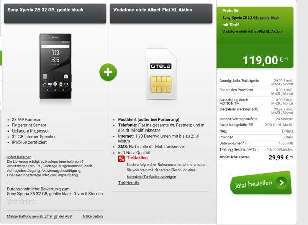 Vodafone otelo Allnet-Flat XL Aktion mit Z5 (eff. 7,74 € / Monat)(modeo)