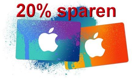 [REWE] iTunes-Karten mit 20% Rabatt für 12€/20€/40€/80€ statt 15€/25€/50€/100€