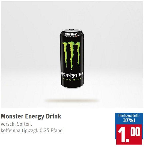 REWE: Monster Energy Drink versch. Sorten 1,00 €