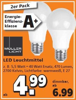[Globus-Baumarkt] Müller-Licht LED E27 470 lm, 2er Pack für 4,99 Euro.