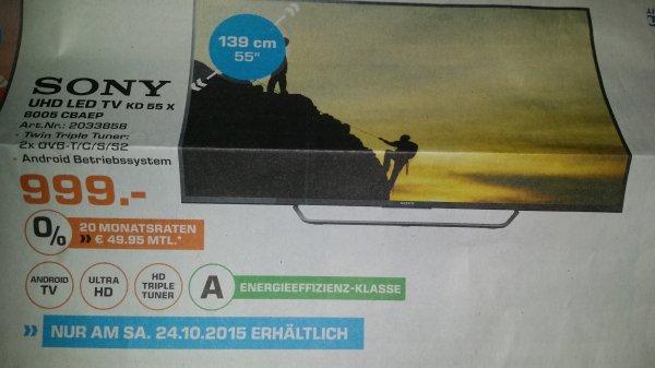 [Lokal Saturn Darmstadt und Weiterstadt] Sony UHD LED TV KD 55 X8005 CBAEP