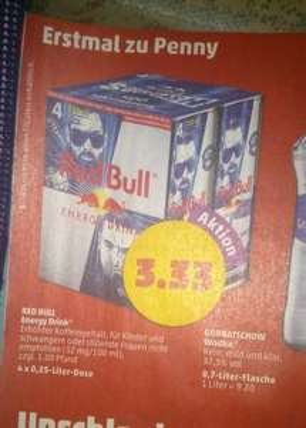 Red Bull 4er Pack für 3,33€ bei Penny