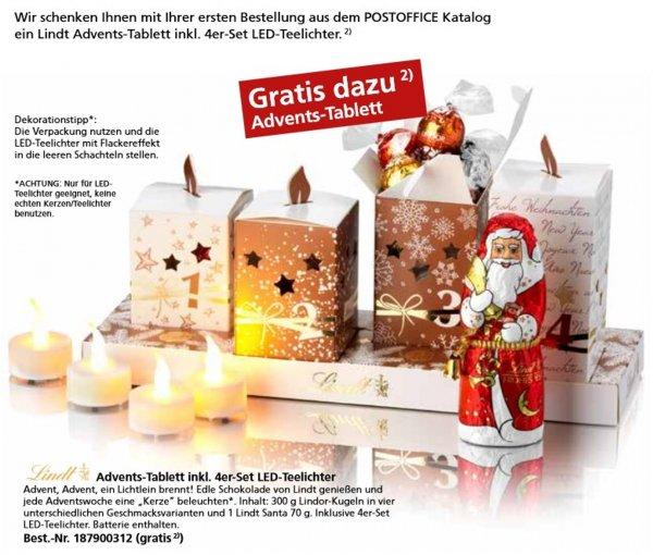 [Postofficeshop][Gewerbekunden] Lindt Advents-Tablett inkl. 4er-Set LED-Teelichter mit Batterien gratis ab 19 € Bestellwert (z.B. Briefmarken + Füllartikel)
