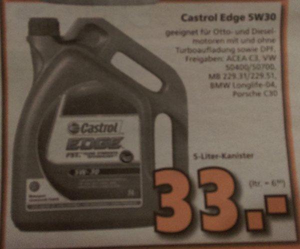 Globus Baumarkt Castrol Edge 5W30 5L für 33 Euro ab 26.10.2015