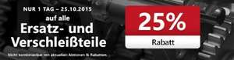 A.T.U 25% Rabatt auf alle Ersatz und Verschleißteile (nur Heute)