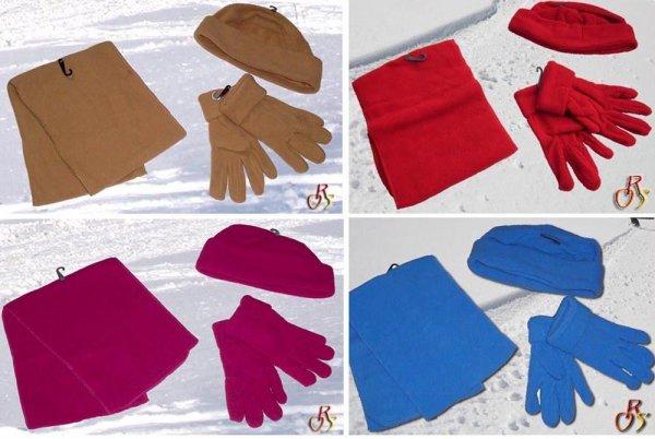 Fleece Set - Handschuhe + Mütze + Schal + Versand = 4,95 versch. Farben