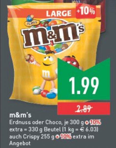 [Marktkauf ] M&M's verschiedene Sorten 280/330g-Packung nur 1,99 €