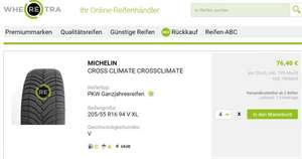 MICHELIN CLIMAT 205/55 R16 94 V XL - C, A, 1, 68dB Ganzjahresreifen